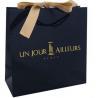 Custom Luxury Black C1S Art Paper Matt Laminated Shopping Bag With Ribbon Bow for sale