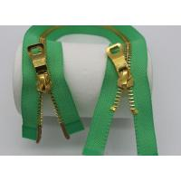 16 Inch Two Way Separating Zipper For Jackets , Open Ended Concealed Zip Bright Green Tape