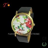 Vogue and classic design  colorful leather band for women with flower rose dial