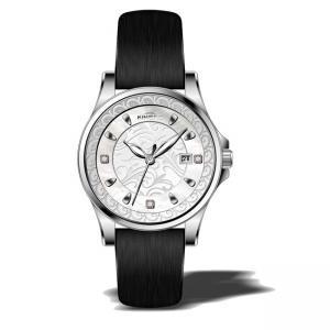5ATM stainless steel  round case genuine leather strap watches for ladies ,luxury ladies wrist vogue watch