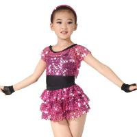 China Children Girls Dance Outfit Sequin Jazz Dance Clothes Sleeveless With Tank Top Tiers Skirt Black Leotard for sale
