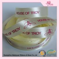Luster Surface Yellow Polyester  Custom Printed Ribbon With Red Print logo  5 / 8'' for sale
