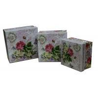 China Square Keepsake Gift Boxes Bottom Paper Cardboard Flower Pattern for sale