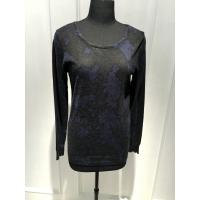 Crew Neck Long Sleeve Pullover With Viscose Cotton Nylon Angora Material Penetration Printing