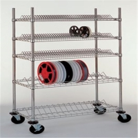 China Chrome Plated Smt Reel Trolley Carbon Steel Esd Pcb Magazine Rack on sale