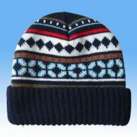 Buy cheap 100 Percent Acrylic Knitted Jacquard Hat from wholesalers