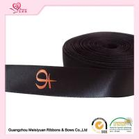 Single Sided Printed Satin Ribbon , Black Polyester Personalized Favor Ribbons for sale