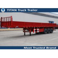 Wholesale 50 Tons tri-axle 40ft heavy duty flatbed trailers with high boards from china suppliers