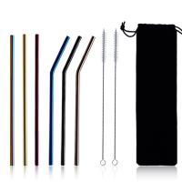 China Full Size Reusable Coffee Straws Long Stainless Steel Drinking Straws on sale