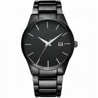 China Elite Essential Watch Luxury Clock Stainless Steel Quartz Wrist Watch Black Stainless Steel Watches for Men for sale