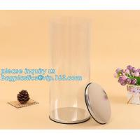 clear PVC PET can for food canning,Customized round clear paint can with tin lid,paint can with tin top & bottom and han for sale