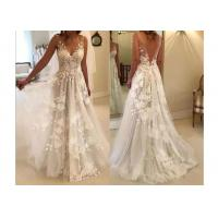 China V Neck Flower Lace A Line Wedding Dress of Floor Length Plus Size on sale
