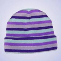 Wholesale 100% Acrylic Knitted Stripe Hat with Silver Thread from china suppliers