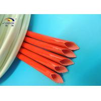 Colored Heat Treated 2.5KV Fiberglass Braided Wire Sleeve / Silicone Resin Coated Fiberglass Sleeving
