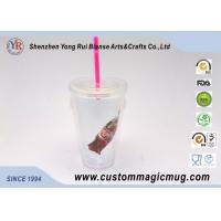 China Single Layer Plastic Straw Cup With Lid , Large Reusable Plastic Cups 450ml on sale
