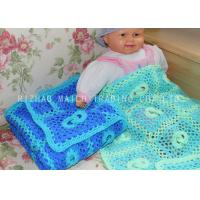 China Softer Green Handmade Crochet Blankets Baby Boy Crochet Blue Baby Blanket on sale