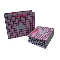 Pink Square Ribbon Handle  cutomized Paper Carrier Bag for Gift Packing Matt Coated for sale