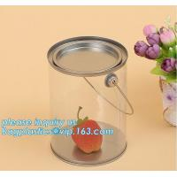 China 1 gallon clear plastic paint cans for packaging,Plastic Food Grade Clear PET Can Round Food Storage Container Screw Lid for sale
