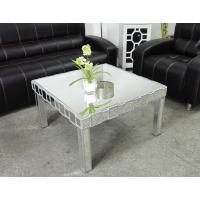 Quality Square Mirrored Coffee Table Silver Wooden Trimming Unique Design for sale