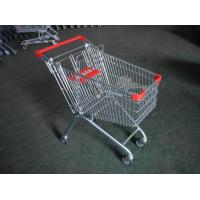 Europe Style 100L Supermarket Shopping Carts With clear lacquer and 4 swivel flat casters