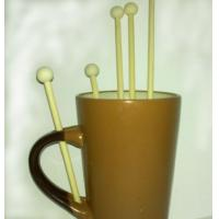 China wood coffee stirrers birch wood coffee stirring sticks with ball head 150mm on sale