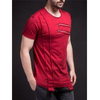 Quality Men's New Latest Hip Hop Design Streetwear Long Line Short Sleeve T Shirt with Zip for sale