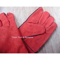 "Wholesale High quality 14"" Red color Cow Split Welding Gloves/Safety Gloves / Working Gloves from china suppliers"