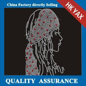 Wholesale D0929 china Big OEM hot fix wholesale fashion girl design rhinestone heat transfers motif from china suppliers