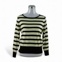 Wholesale Lady's Jacquard Stripe Unlined Upper Sweater, Made of 100% Rabbit Wool from china suppliers