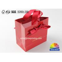 Hot Stamping Logo Exquisite Small Personalised Paper Bags With Ribbon Handle for sale
