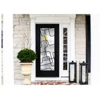 Natural Lighting Elegant Inlaid Wrought Iron Door Glass For Building Hand Forged Dignified for sale