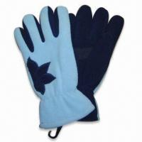 Wholesale Fleece Winter Glove with Flower Application on Both Hands, Suede Palm from china suppliers