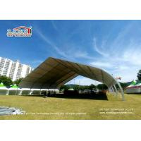 China 30m Width White Top Curve TFS Tent With Open Gable Ends For Exhibition on sale