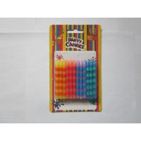 China Straight Color Stripe Print Birthday Candles 2.48 Inch Height 10 min Burn Time on sale