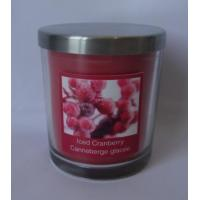 Scented decor glass candle with metal lid and printed front label,100% paraffin wax for sale