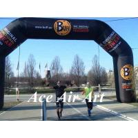 Wholesale custom 26 feet black inflatable racing arch with removable banner for sport runners from china suppliers