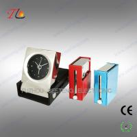 Folding square leather travel table alarm clock with metal case material