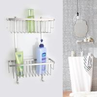 Wholesale Durability Double Layers Stainless Steel Shower Basket Wall Mounted from china suppliers