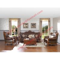 Wholesale European Classic Solid Wooden Carving Frame with Italy Leather Upholstery Sofa Set from china suppliers