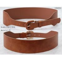 Wholesale Wide Ladies PU Belts With PU Covered Pin Buckle In Tan & Black Colors from china suppliers