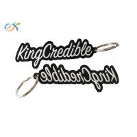 Heat Cut Border Letter Custom Embroidered Key Tags With Metal Ring Accessory for sale