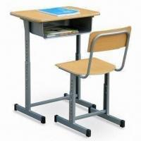 China Single School Desk and Chair, Made of Laminated Plywood and Metal on sale