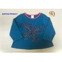 Butterfly Applique Toddler Long Sleeve T Shirts , 100% Cotton Baby Tee Shirts for sale