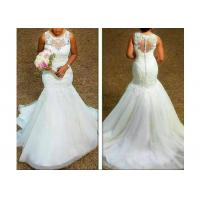 China Comfortable Sleeveless Lace Mermaid Bridal Gowns With Back Zipper for sale