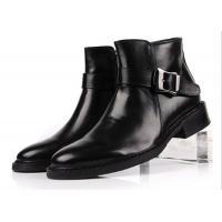 Wholesale British Style Top Cow Leather Black Buckle Ankle Boots Personalized Mens Zipper Boots from china suppliers