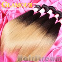 Buy cheap #1B/613 2 tone color ombre hair weave Eurasian remy straight hair extension from wholesalers