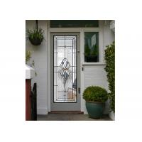 Polished Wrought Iron Glass Double Entry Doors Firm Type Iron Mosaic Glass Thickness 30Mm for sale