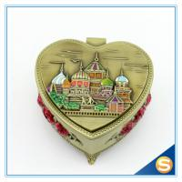 Castle Desgin Antique Brass Metal Heart Shape Jewelry Box
