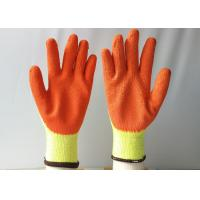10 Gauge Latex Coated Gloves Yellow Cotton / Polyester Knitted For Construction for sale