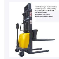 Wholesale semi electric pallet forklift 1 ton 2 ton storage battery stacker, Semi Electric Stacker forklift, Semi Automatic Forkli from china suppliers
